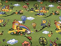 Детский ковролин Радуга Зеленый фон 3м