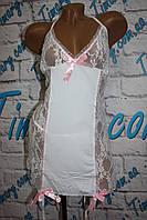 Белое эротическое платье с пажами для чулок