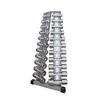 Стойка с набором гантелей хромированных 0,5-10 кг InterAtletikGym ST410.1