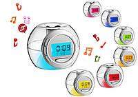 Светящийся будильник 7 цветов + звуки природы 7Color Changing Alarm Clock