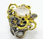 Кольцо ручной работы из серебра 925 пробы с натуральным розовым кварцем Размер 17,8