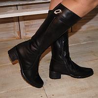 Женские сапоги из натуральной кожи, на устойчивом каблуке