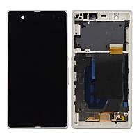 Дисплей Sony C6902 Xperia Z1 Сони (C6903, C6906, C6943, L39h) с тачскрином и рамкой в сборе, цвет белый
