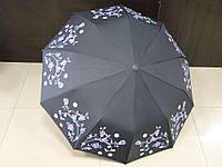 Зонт женский полуавтомат Feeling Rain черный с цветами (МА3027-1)