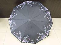 Зонт женский полуавтомат Feeling Rain черный с цветами (МА3027-2)