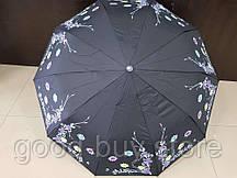 Зонт женский полуавтомат Feeling Rain черный с цветами (МА3027-3)
