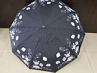 Зонт женский полуавтомат Feeling Rain черный с цветами (МА3027-4)
