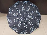 Зонт женский полуавтомат Feeling Rain черный с цветами (МА3028-1)
