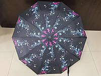 Зонт женский полуавтомат Feeling Rain черный с цветами (МА3028-3)
