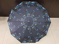 Зонт женский полуавтомат Feeling Rain черный с цветами (МА3028-4)
