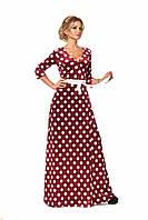 Платье из бархата принтованное горохом