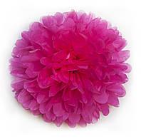 Бумажный помпон 12 см ярко-розовый