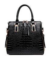 Жесткая черная сумка с тиснением под кожу крокодила Traum 7230-50, черный