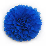 Бумажный помпон 12 см синий