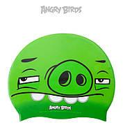 Детская (Junior) силиконовая шапочка для плавания Angry Birds Skeptical Pig JR, фото 1