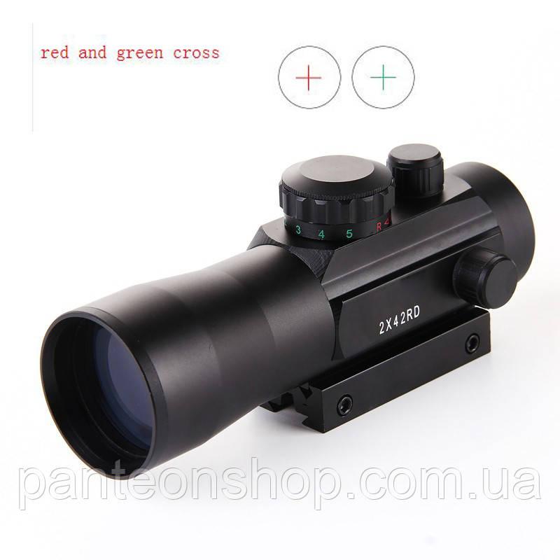 Оптика 2x42 зелена та червона точки 11мм RIS