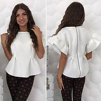 Стильная блуза-баска с оборкой на рукавах НН!