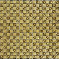 Мозаика шахматка рельефное золото-золотой песок 300 x 300     (код 443 )
