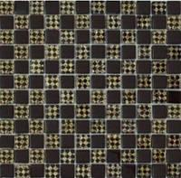 Мозаика Шахматка шоколад-ромб золото 300 x 300     (код 806 )