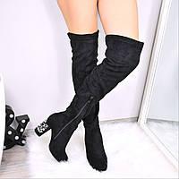 Ботфорты женские Squeezy черные 3560, осенняя обувь