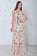 Летнее платье с пышной юбкой в пол