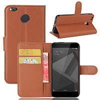 Чехол-книжка на Xiaomi redmi 4x коричневая с визитницей