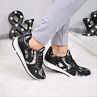 Кроссовки женские Питон черные 3566, спортивная обувь