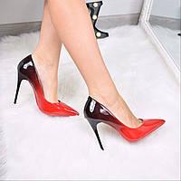 Туфли женские лодочки на шпильке Monica омбре красные 3565