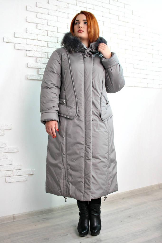 Пальто зимнее длиннее Венера хаки