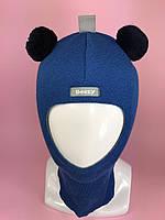 Детская зимняя шапка-шлем унисекс Мишка 1402 мадонна