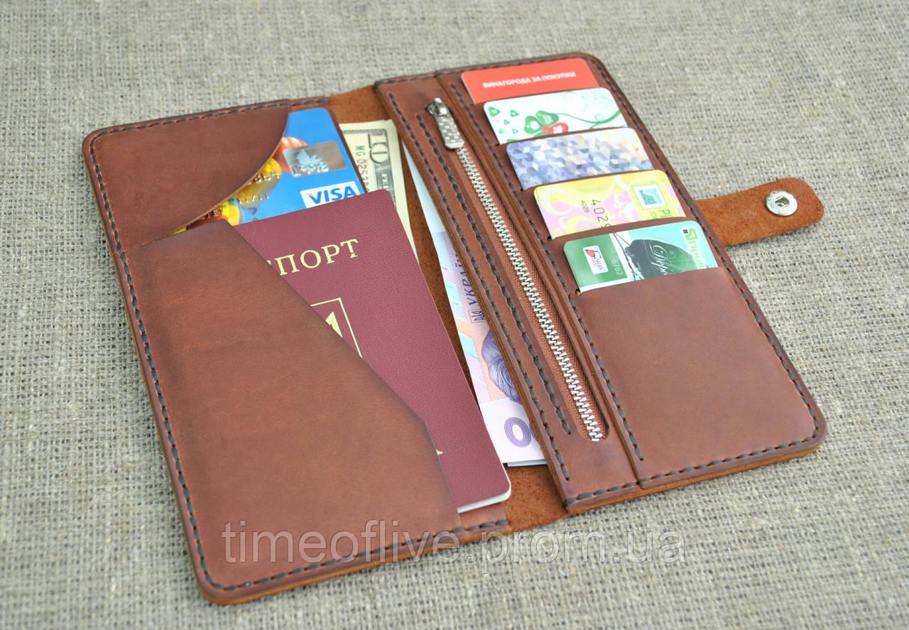 Портмоне с отделом для паспорта из натуральной кожи ручной работы