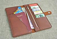 Портмоне с отделом для паспорта из натуральной кожи ручной работы, фото 1