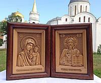 Різьблені ікони Ісуса Христа та Казанської Божої Матері *Вінчальна пара* із натурального дерева, фото 1