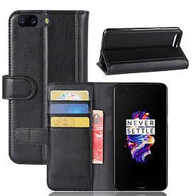 Чехол книжка для OnePlus 5 A5000 боковой с отсеком для визиток, Натуральная кожа, черный