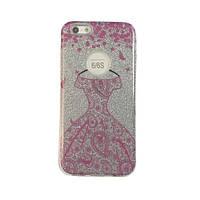 Чехол силиконовый Mask Collection Платье розовое в серебре для iPhone 6