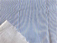 Поплин - стрейч Полоса (белый, джинс) (арт. 12400)
