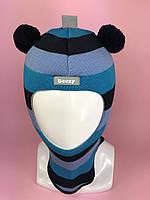 Детская зимняя шапка-шлем для мальчика Мишка 1402 цвет 34