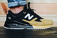 ТОП КАЧЕСТВО ! Черно-рыжие  мужские  кроссовки New Balance  encap 530 натуральный замш   р-р 41-44