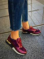 Кроссовки в стиле D&G. Натуральная кожа+обувной стрейч с декоративной отделкой. Р-р 36-40. Цвет марсала.