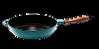 Сковорода сотейник с деревянной ручкой d=240, h=60, покрытая цветной глянцевой эмалью. Зеленый цвет, фото 1
