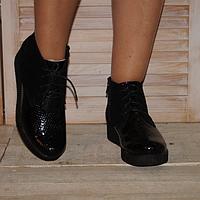 """Ботинки женские из натуального замша и кожи """"питона"""""""