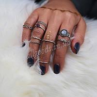 Кольца 9шт. серебро. набор из 9 колец