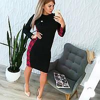 Платье с брошкой женское батал МГ2002