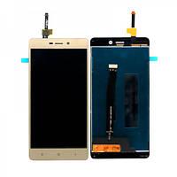 Дисплей (экран) для Xiaomi Redmi 3, 3S, 3X ксиоми + тачскрин, цвет золотой