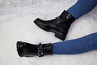 Женские ботинки черные с цепью и шипами