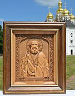Різьблена ікона Миколи Чудотворця із ажурною рамкою, фото 1