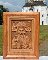 Різьблена ікона Миколи Чудотворця, фото 1