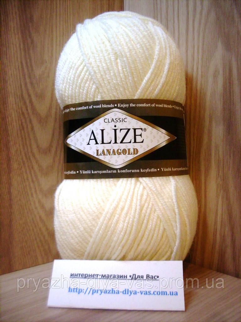 Полушерстяная пряжа (49%-шерсть,51%-акрил,100г/240м) Alize Lanagold 62(молочный)