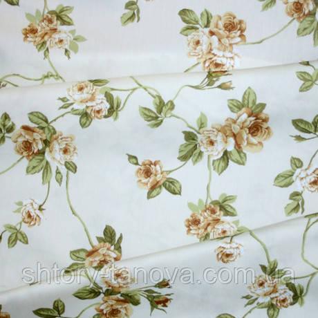 Ткань в стиле прованс розы средние бежевые испания