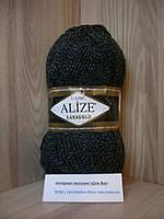 Полушерстяная пряжа (49%-шерсть,51%-акрил,100г/240м) Alize Lanagold 600(тёмно-серый меланж)